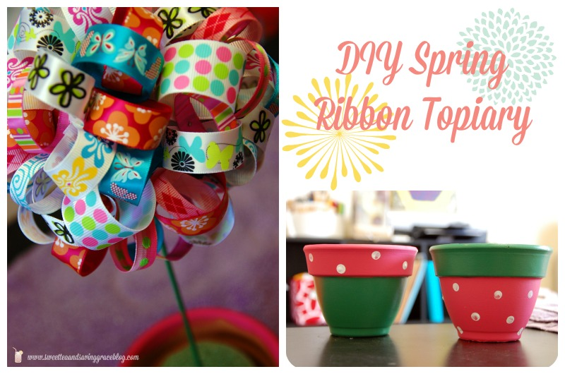 DIY Spring Ribbon Topiary Feature
