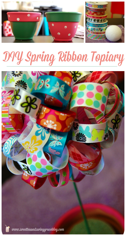 DIY Spring Ribbon Topiary  |  Sweet Tea & Saving Grace