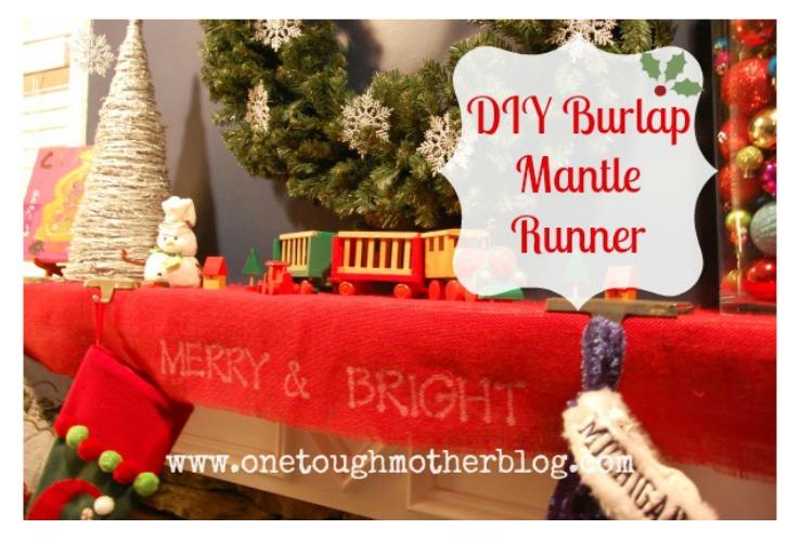 DIY Burlap Mantle Runner