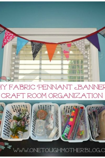 DIY Fabric Pennant Banner + Craft Room Organization