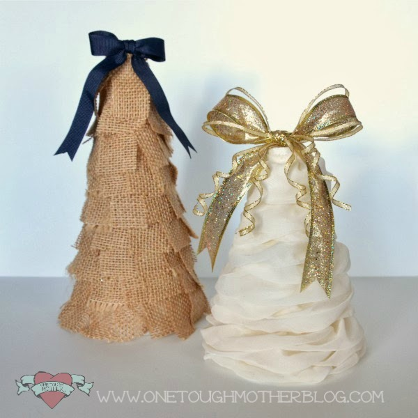 DIY Ruffle Christmas Tree and Burlap Christmas Tree sweetteaandsavinggraceblog.com