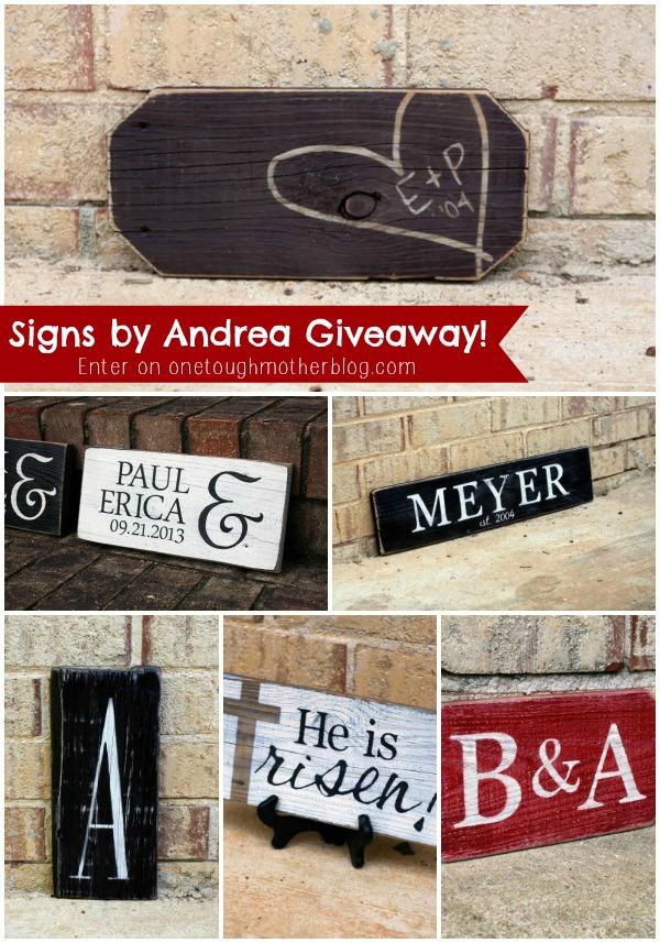 Signs by Andrea Giveaway sweetteaandsavinggraceblog.com