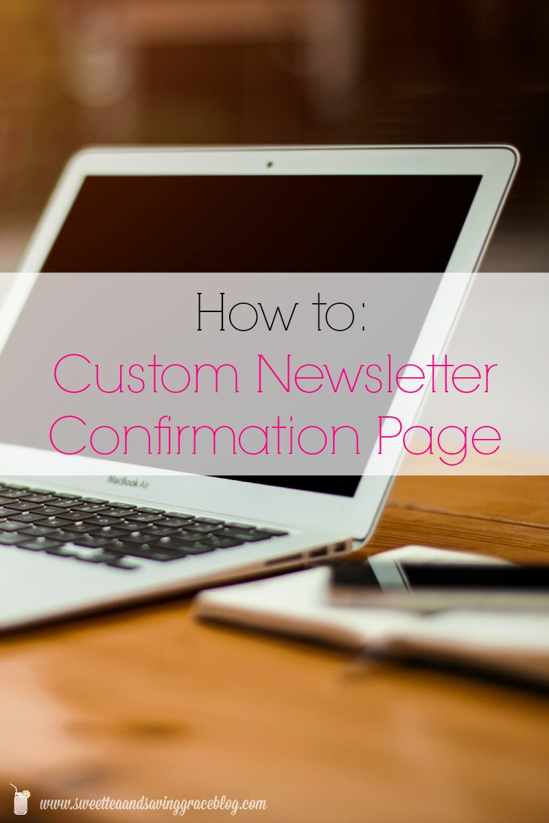 custom newsletter confirmation page