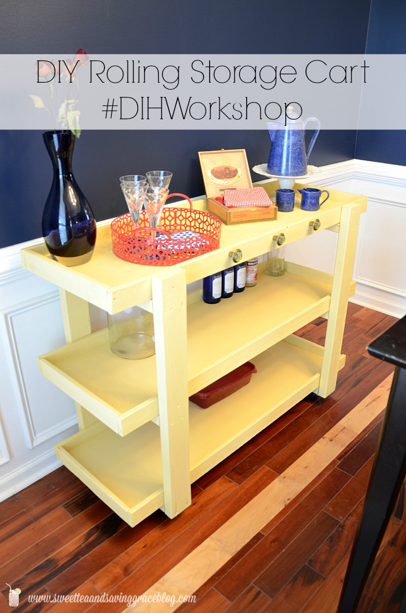 This DIY Rolling Storage Cart can be dressed up and used as a bar cart or buffet, or filled with bins and used in a baby's room or craft room! It's beautiful, easy to make, and multi-purpose!