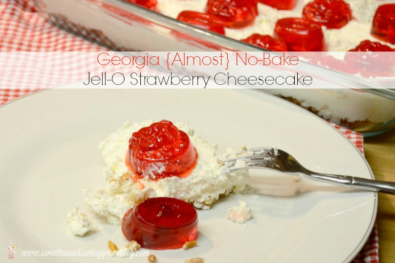 Game Day {Almost} No-Bake Jell-O Strawberry Cheesecake