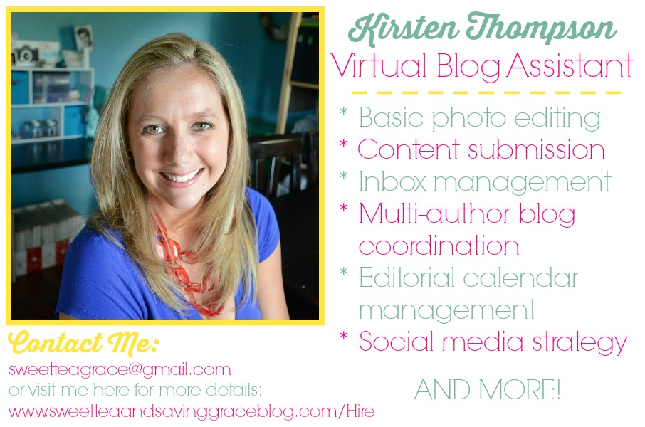 Kirsten Thompson Virtual Blog Assistant | Sweet Tea & Saving Grace