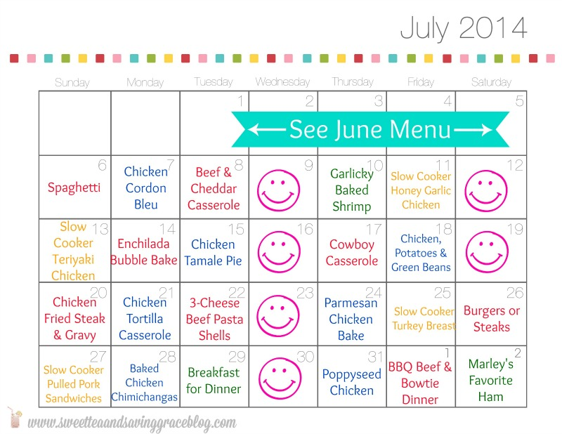 July 2014 Meal Plan