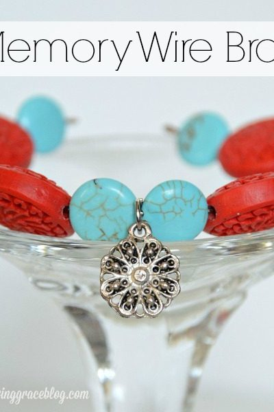 Red & Turquoise Memory Wire Bracelet