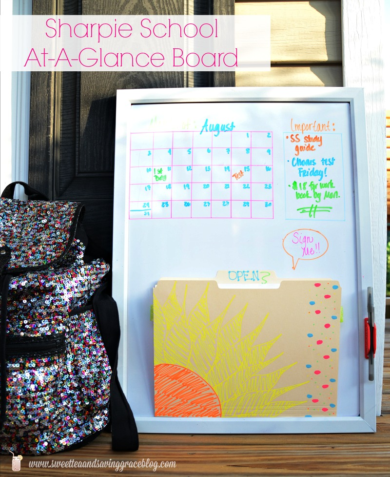 Sharpie School At A Glance Board |  Sweet tea & Saving Grace