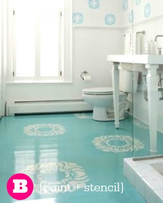 Painted Stencil Laundry Floor  |  Sweet Tea & Saving Grace