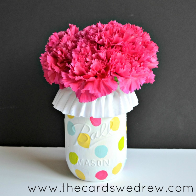 Polka Dot Mason Jar Vase  |  The Cards We Drew