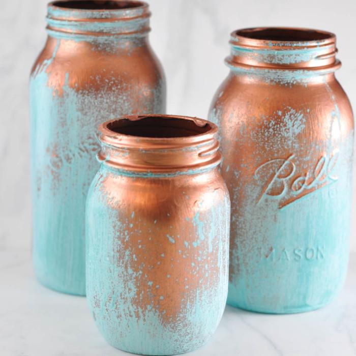 Blue Patina Mason Jars  |  Suburble