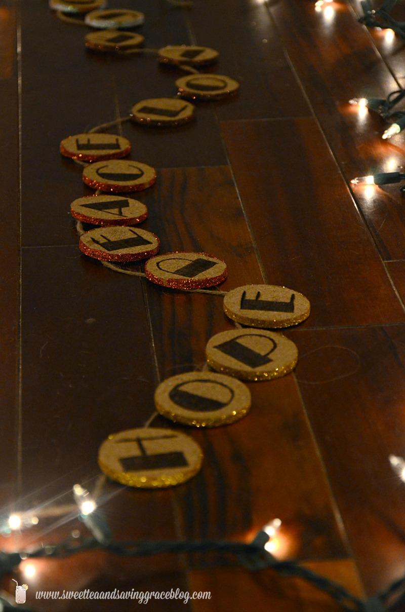 Wood Etched Glitter Cork Garland   Sweet Tea & Saving Grace