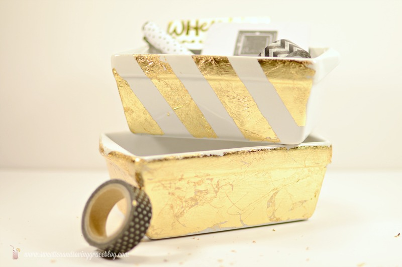 DIY Gold Leaf Desk Accessories