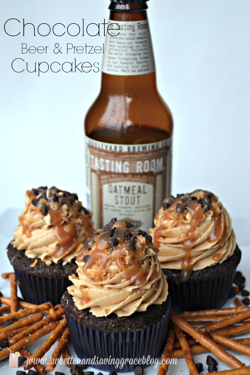 Chocolate Beer and Pretzel Cupcakes | Sweet Tea & Saving Grace