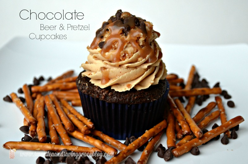 Chocolate Beer and Pretzel Cupcakes