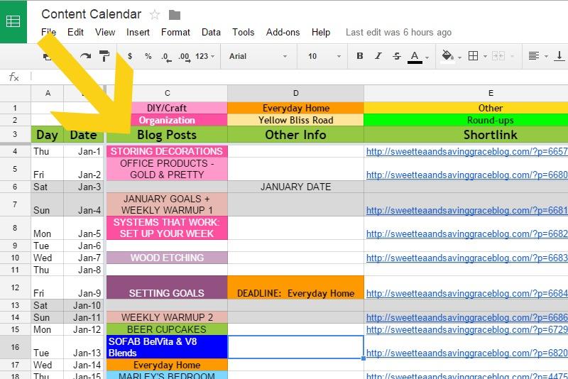 Blog Editorial Calendar     Sweet Tea & Saving Grace