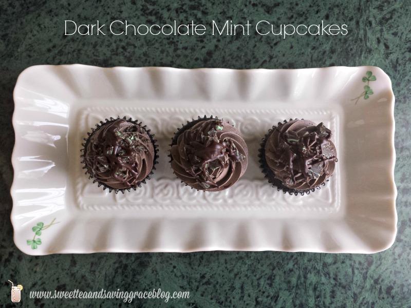 Dark Chocolate Mint Cupcakes  |  Sweet Tea & Saving Grace