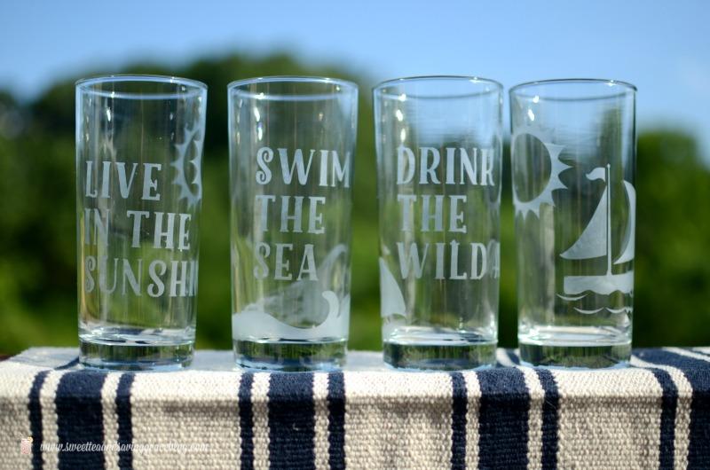 Etched Glass Summer Drinkware Set |  Sweet Tea & Saving Grace