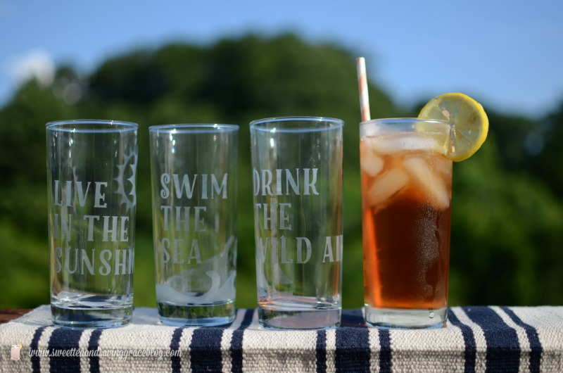 Etched Glass Summer Drinkware Set