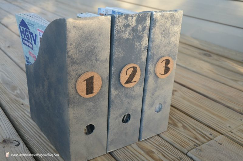 Faux Galvanized Metal Magazine Holders | Sweet Tea & Saving Grace