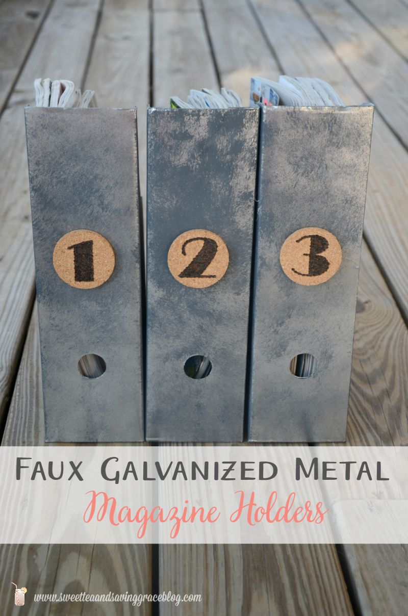 Faux Galvanized Metal Magazine Holders