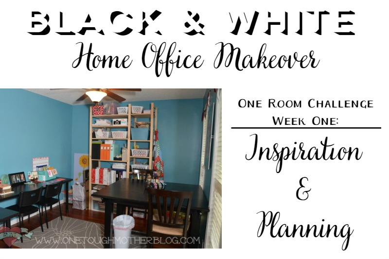 black and white home office makeover