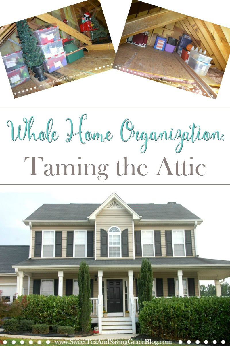 Organize your whole home, one area at a time! This month I tackled our attic and now it's so organized that we have room for more stuff!