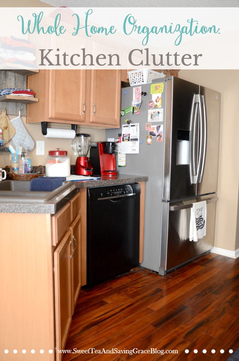 It's so much more manageable to work on one area of the home each month, and get it fully organized and decluttered. This tiny kitchen is organized in such a way that it maximized the available space.