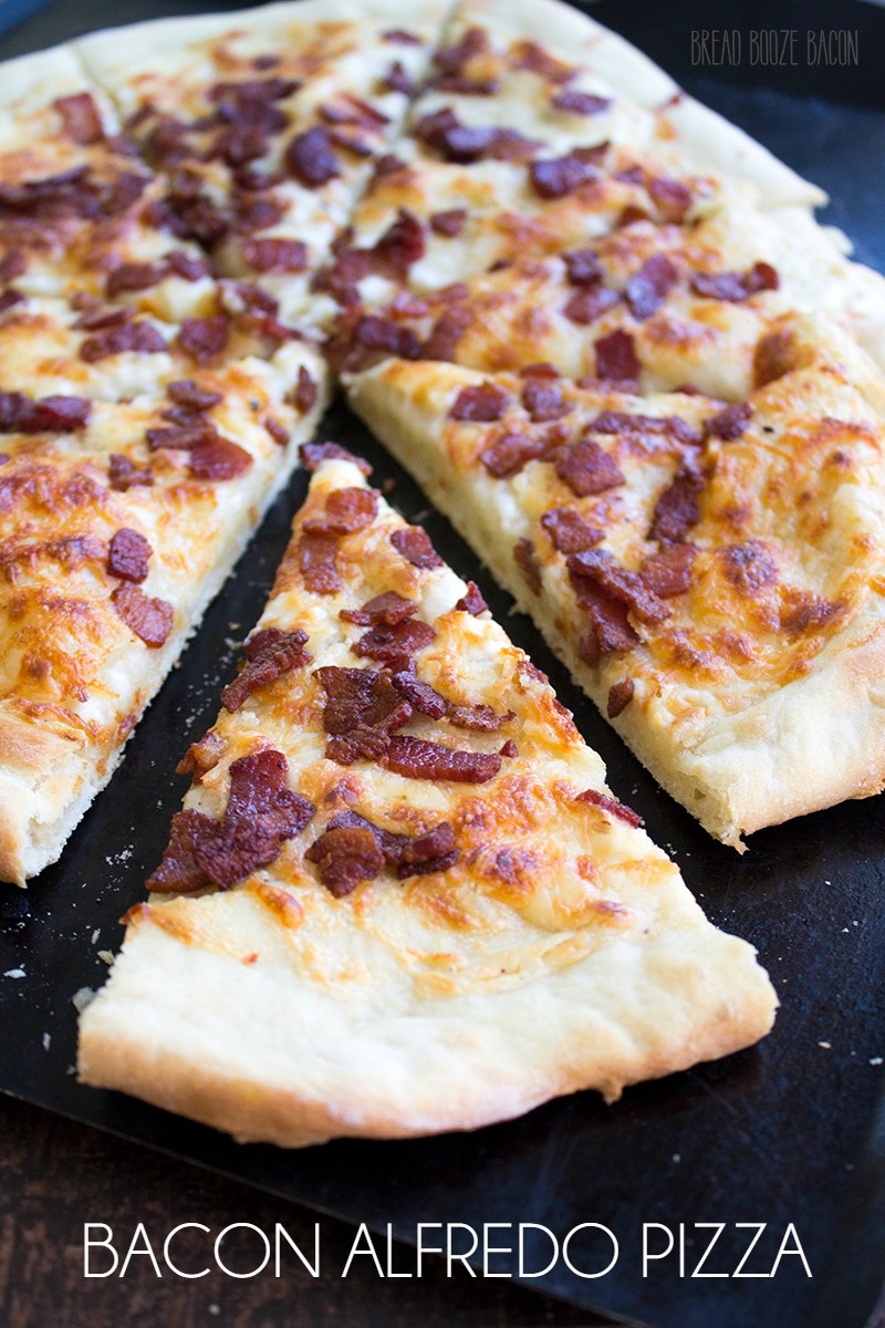 Bacon Alfredo Pizza is one of my all time favorite pizza flavor combinations!