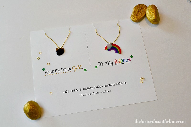 "These ""You're the Pot of Gold to My Rainbow"" Friendship Necklaces made with Shrink Film are a blast to make and create an extra special St. Patrick's Day gift!"