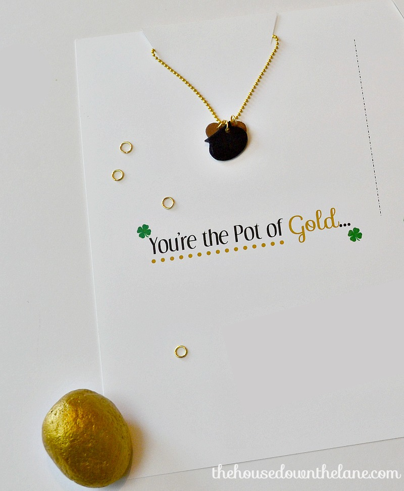 "These ""You're the Pot of Gold to My Rainbow"" Friendship Necklaces made with Shrink Film are a blast to make and create an extra special St. Patrick's Day gift! 