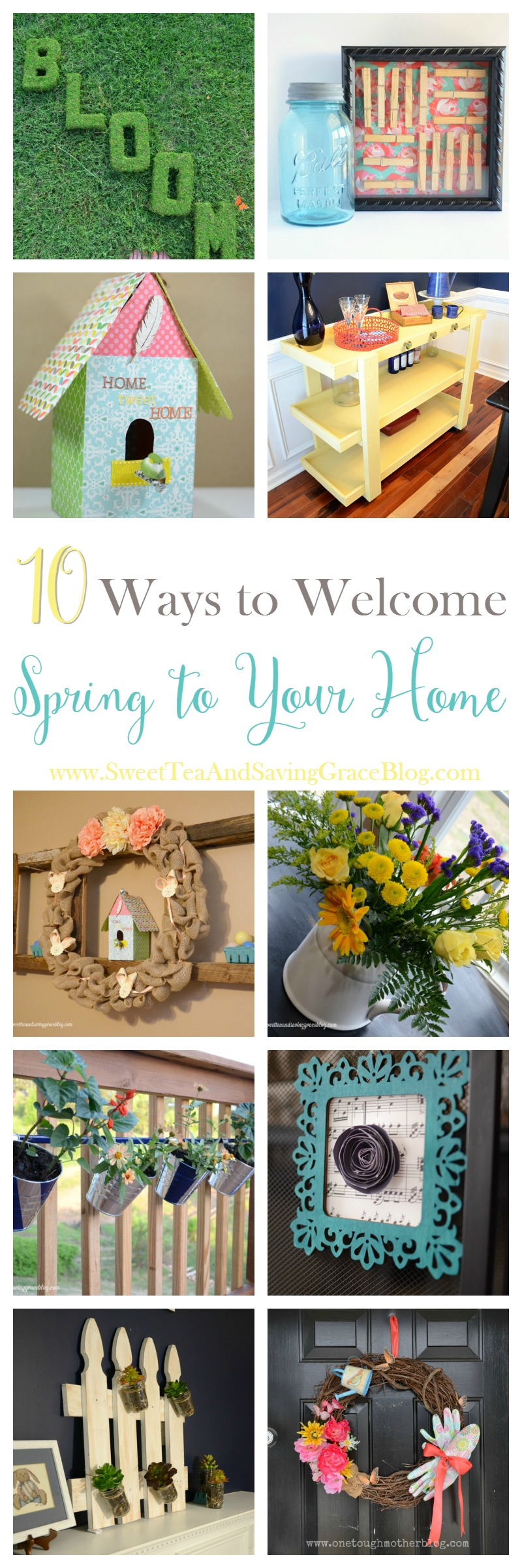 Try these 10 ways to welcome spring into your home! Bright & cheery colors, lots of flowers, and fun DIY projects bring sunshine and spring indoors!
