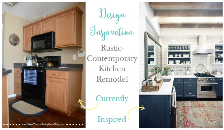 I'm planning a rustic-contemporary kitchen remodel and sharing my design inspiration with you. My goal is to turn my existing tiny dungeon-like kitchen into a bright & airy, and slightly larger, space.
