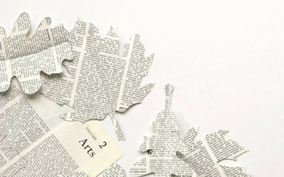 Fall Leaf Garland with Vintage Book Pages