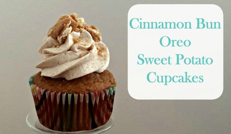 Cinnamon Bun Oreo Sweet Potato Cupcakes | A Cinnamon Bun Oreo at the bottom of each sweet potato cupcake, topped with delicious cinnamon cream cheese frosting and garnished with more Cinnamon Bun Oreos. YUM!