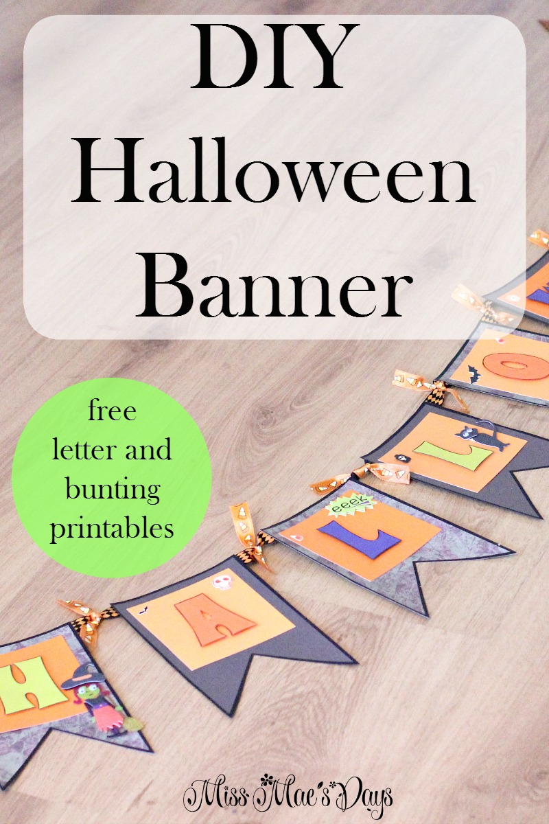 DIY Halloween Banner with Free Letter and Bunting Printables