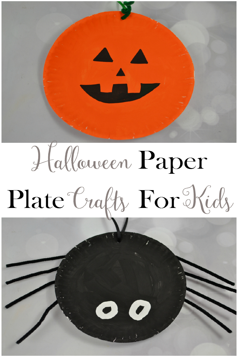 Get ready for Halloween with these fun and inexpensive Halloween Paper Plate Crafts for kids, including a pumpkin and spider!!