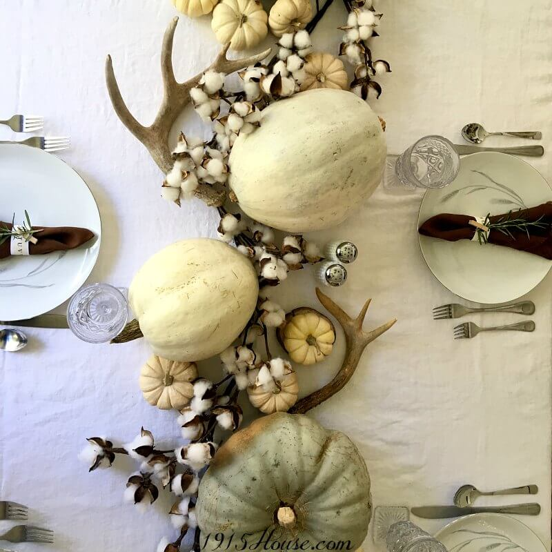 A simple, neutral, budget-friendly Thanksgiving tablescape. Save money by using only items you already have on hand and some pumpkins from the local market.