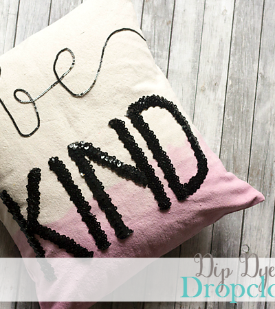 Dip Dye and Sequin Dropcloth Pillow