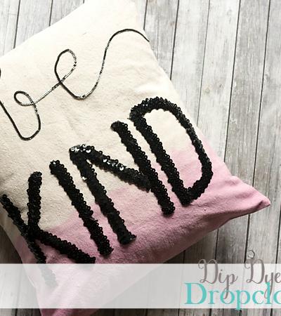 Dip Dye and Sequin Dropcloth Pillow