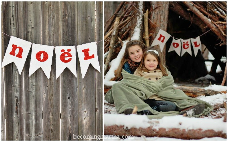 With the leftover drop cloth from your dip dye pillow, you can create an adorable banner to use as Christmas decor or for your next photo shoot!