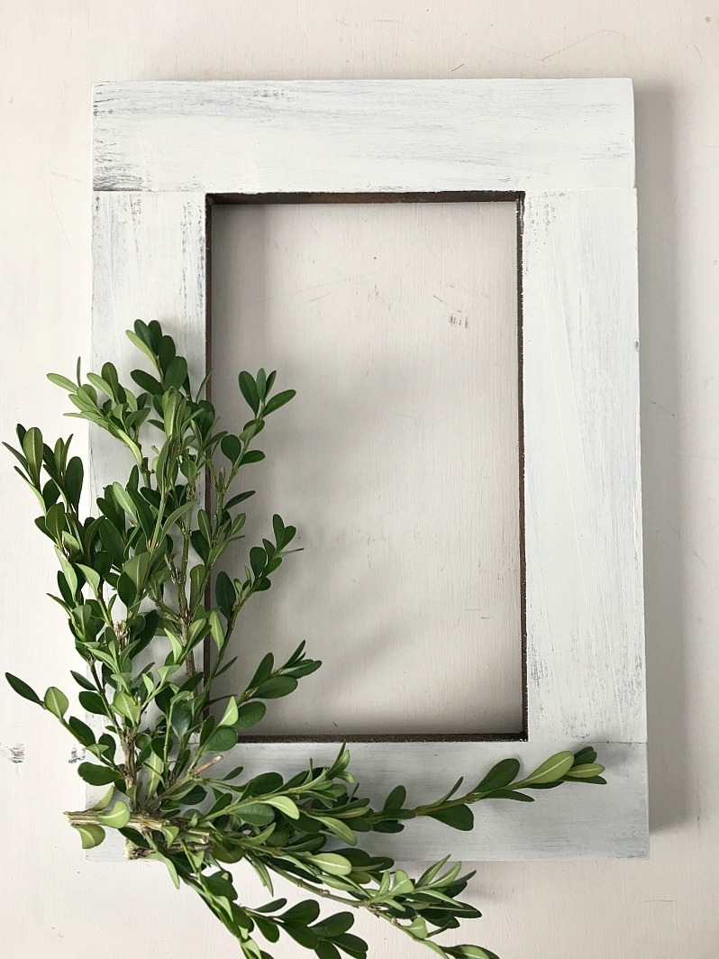 DIY boxwood wreath using a painted frame
