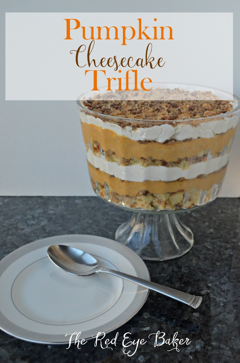 Pumpkin Cheesecake Trifle- Layers of cake, pecans, pumpkin, and creamy filling come together to make this delicious, no bake, Pumpkin Cheesecake Trifle.