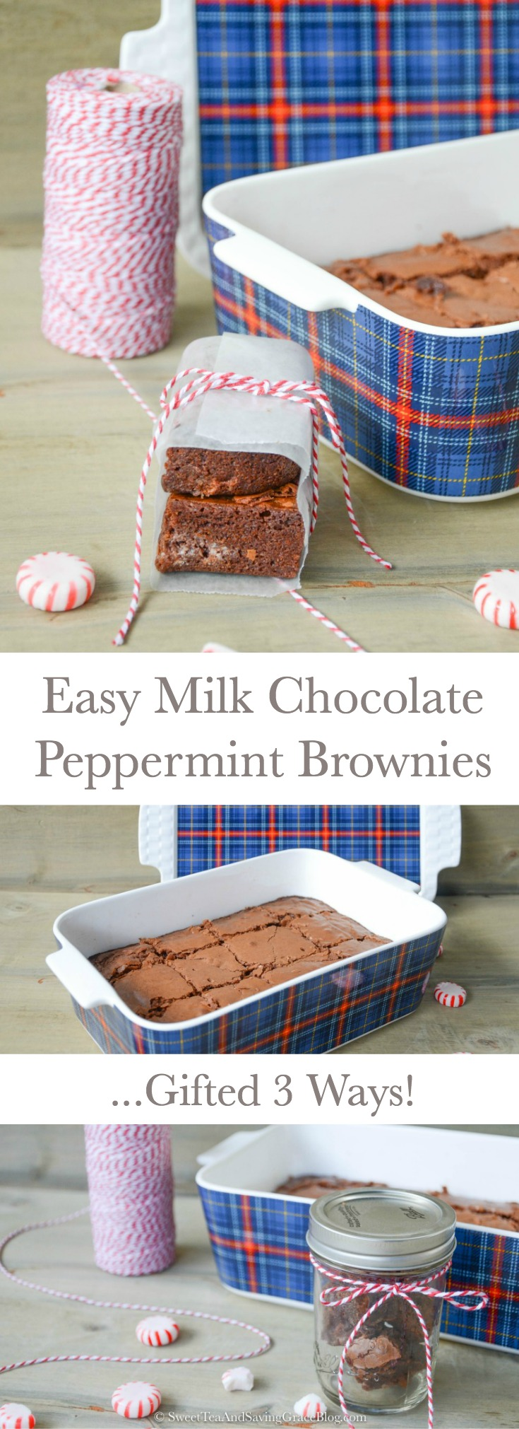 Delicious treats make great gifts at Christmas time, and they don't have to take a ton of time or money! These easy milk chocolate peppermint brownies start with boxed brownie mix, but turn out so scrumptious you'll want to make a batch to keep for yourself! Plus I'm showing you 3 ways to gift brownies for Christmas, including in a mason jar!