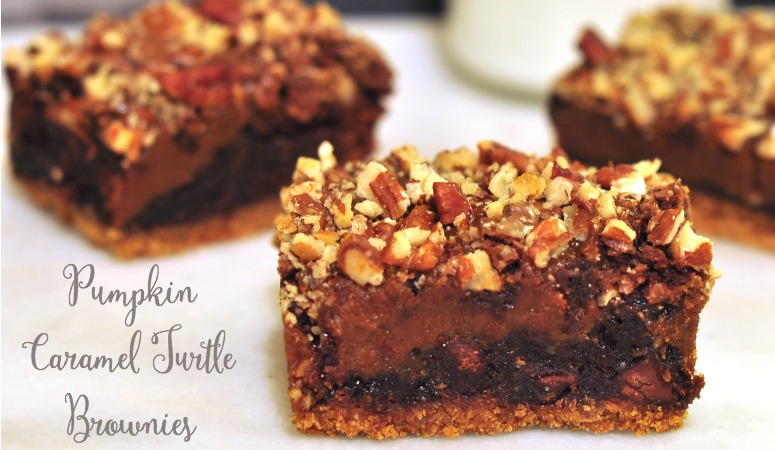 easy semi-homemade pumpkin caramel turtle brownies