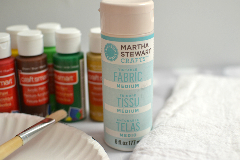 Martha Stewart's fabric medium is used to mix with acrylic paint for the DIY Christmas Tree Handprint Tea Towel Gift.