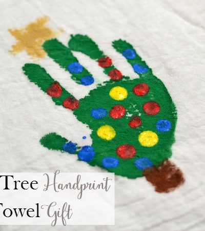 Christmas Tree Handprint Tea Towel Gift
