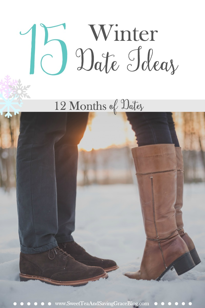 Planning 12 Months of Dates, or just a fun winter date? Check out these 15 winter date ideas! There are some for every budget and every couple! Plus download your free 12 Months of Dates planning pages!