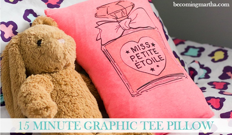 15 Minute Graphic Tee Pillows that are Easy and Adorable